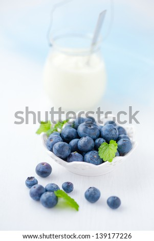 still life of fresh blueberries - stock photo