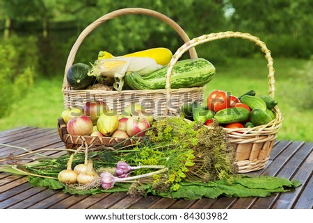 Still life of fresh vegetables on the table