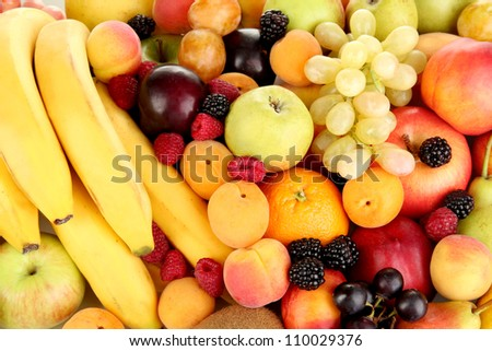 Still life of fruit close-up isolated on white - stock photo