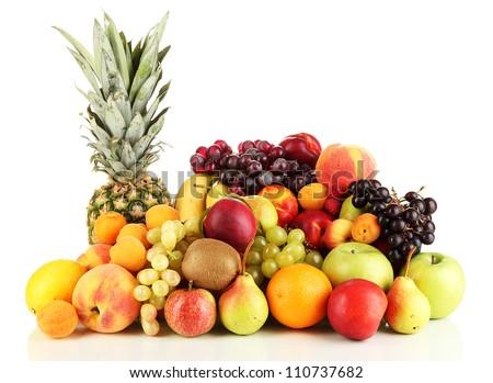 Still life of fruit isolated on white - stock photo