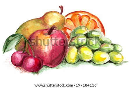 Still life of fruit on a white background - stock photo
