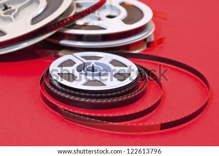 Still life of 8mm cine film  reels - stock photo