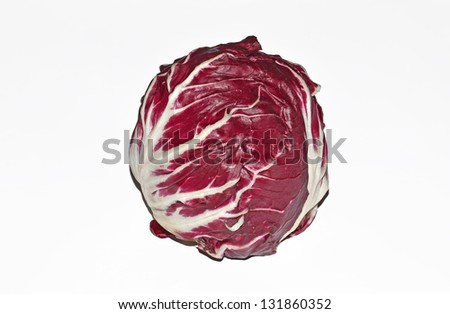 still life of red lettuce isolated on white