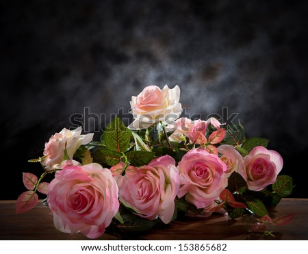 still life of rose bouquet flower  in studio  - stock photo