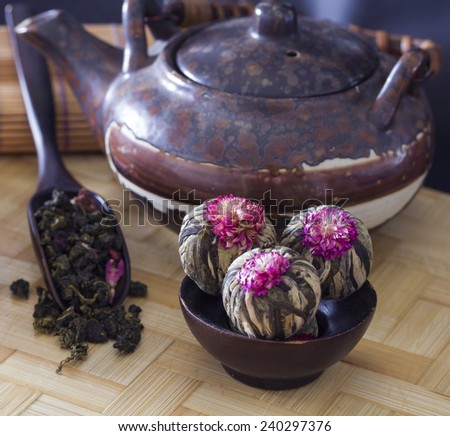 Still life of several varieties of tea