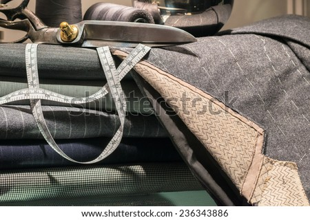 Still Life of Tailor's Shop with Tools of the Trade and Cloth - stock photo