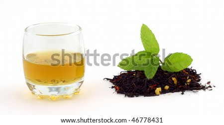 Still life of tea with spearmint