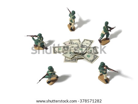 Still Life of Toy Army Men Protecting Dollars on a White Background - stock photo