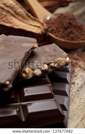 still life of variety of chocolates and cocoa - stock photo