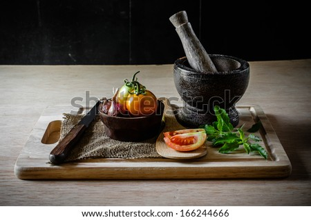 Still life of vegetable and equipment cooking
