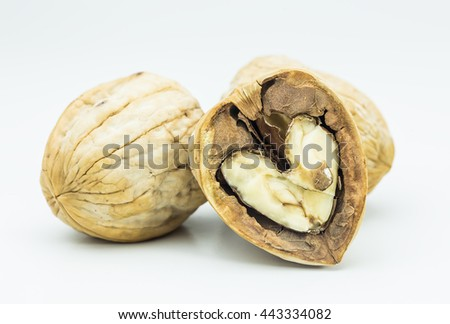 still life of Walnut and walnut kernel isolated on white background. Walnut for for health.
