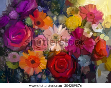 Still life of yellow, red and pink color flower. Oil Painting - Colorful Bouquet of rose, daisy and gerbera flowers. Hand Paint floral Impressionist style. - stock photo