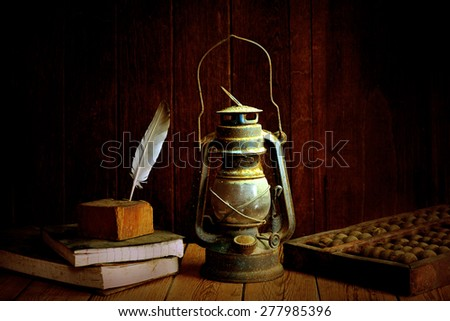 still life old lamp  - stock photo