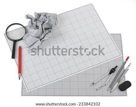 Still life photo of engineering graph paper with a pencils, compass, eraser and magnifier, blank to add your own design, image or text. - stock photo