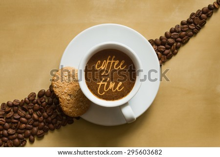 Still life photography of hot coffee beverage wtih text coffee time