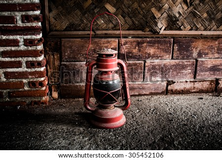 Still life photography with old lamp vintage style for decor and design - stock photo