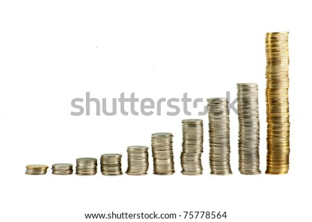 Still life shot of chart made by coin - stock photo