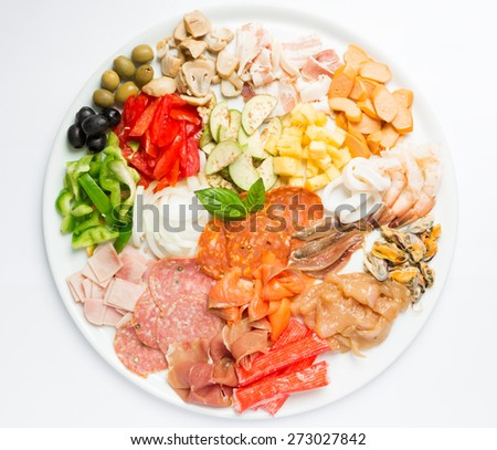 still life topping for pizza on white background - stock photo