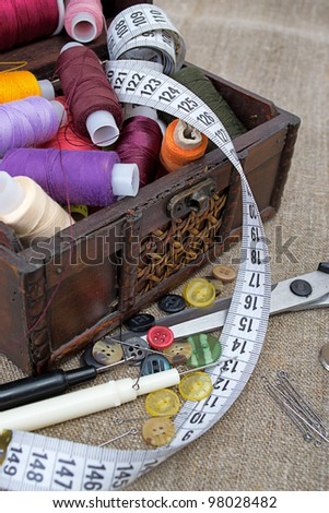 Still life various sewing accessories. - stock photo