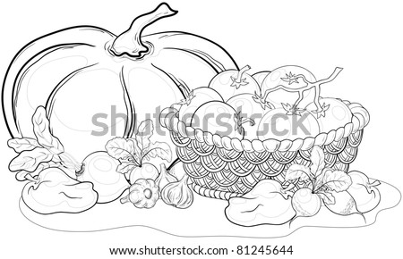 still life: various vegetables and wattled basket, monochrome contours - stock photo