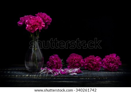 still life vase with flowers Black background