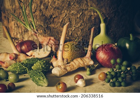still life Vegetables and fruits as ingredients in cooking.