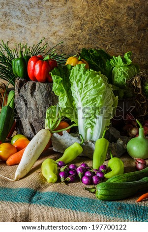 still life  Vegetables, Herbs and Fruit as ingredients in cooking. - stock photo