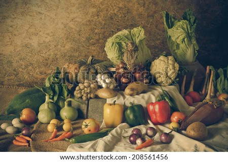 still life  Vegetables, Herbs and Fruits as ingredients in cooking.