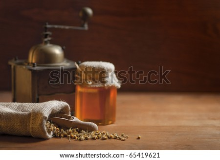 still life wih copy space, focus on camomile - stock photo