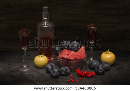 still life wine and fruit - stock photo