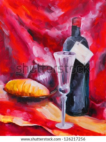 still life wine crystal glass bread on the plate and red onions painted on canvas with oil paints - stock photo
