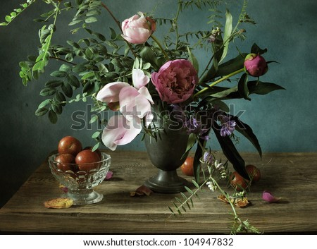 Still life with a beautiful bouquet of mixed flowers - stock photo