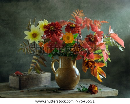 Still life with a beautiful voluptuous bunch of flowers - stock photo