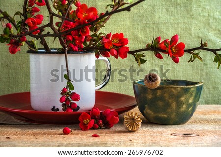 Still life with a bouquet of barberry, soft focus - stock photo