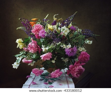 Still life with a bouquet of flowers