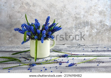 Still life with a bouquet of spring flowers blue - stock photo