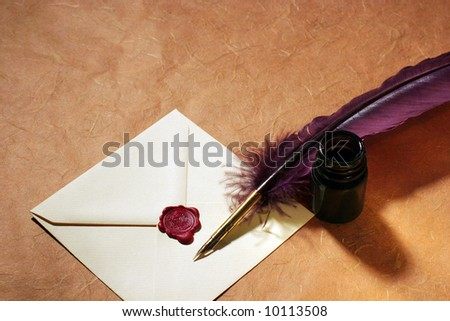 Still-life with a letter, a quill and an inkwell on a rough paper surface. - stock photo
