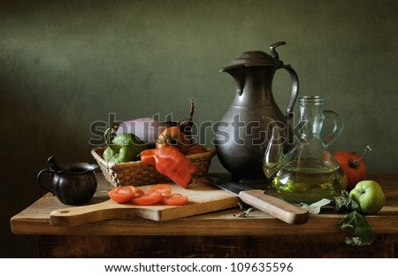 Still life with a tin jar - stock photo