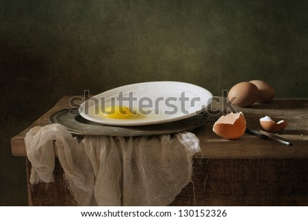 Still life with an egg - stock photo