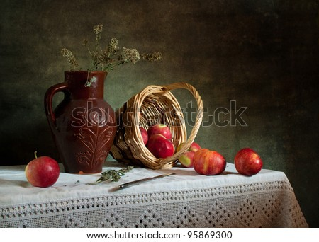 Still life with apples - stock photo