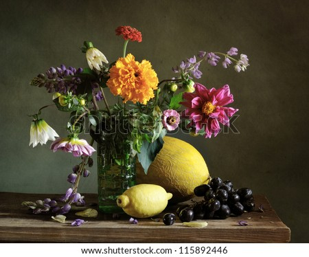 Still life with autumn flowers - stock photo