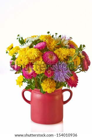 Still life with autumnal flowers  - stock photo