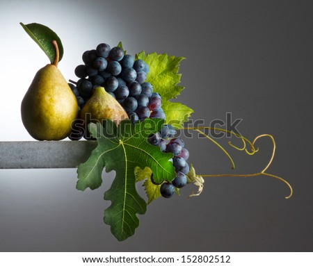 still life with  autumnal fruits - stock photo
