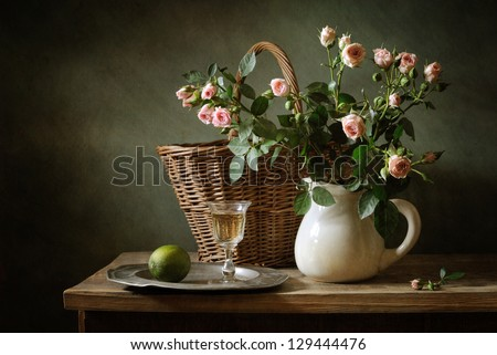Still life with beautiful roses - stock photo