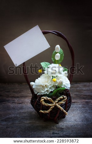Still life with bouquet of flowers, vintage. - stock photo