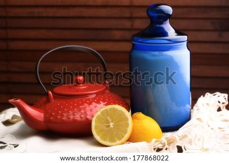Still life with bright utensils - stock photo