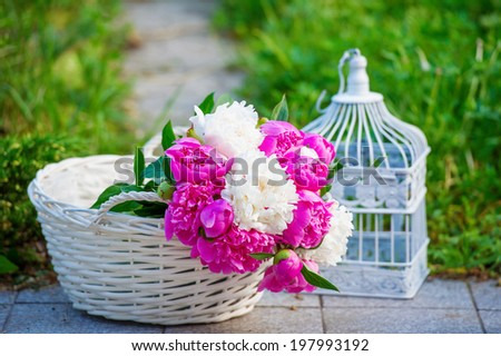 Still life with bunch of beautiful peonies in the basket - stock photo