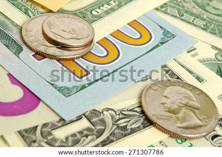 Still Life with cash dollars and cents US. - stock photo