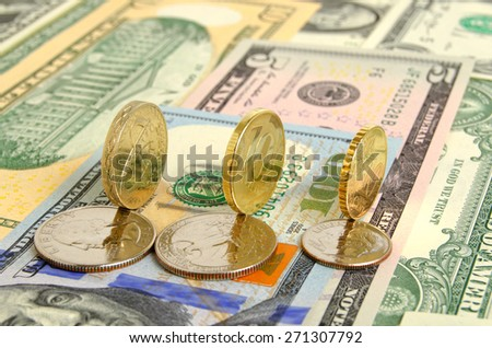 Still Life with cash dollars and coins. - stock photo
