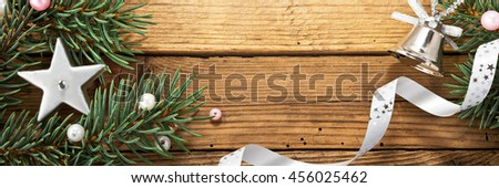 still life with christmas tree and silver decoration - stock photo